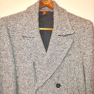 Men's Barena Venezia Herringbone Tweed DB Pea Coat